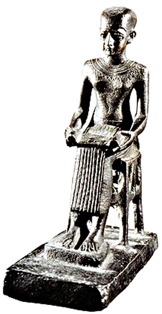 A copy of a Statuette of Imhotep. The original is exhibited in the Louvre, Paris