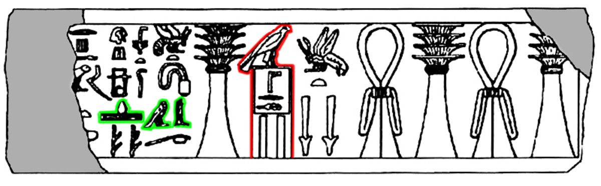 This remarkable inscription on the base of a statue of Djoser in the Cairo Museum unites the pharaoh and his Chief Minister. It features both the hieroglyphic representation of the Pharaoh (outlined in red) and the name of Imhotep (in green)