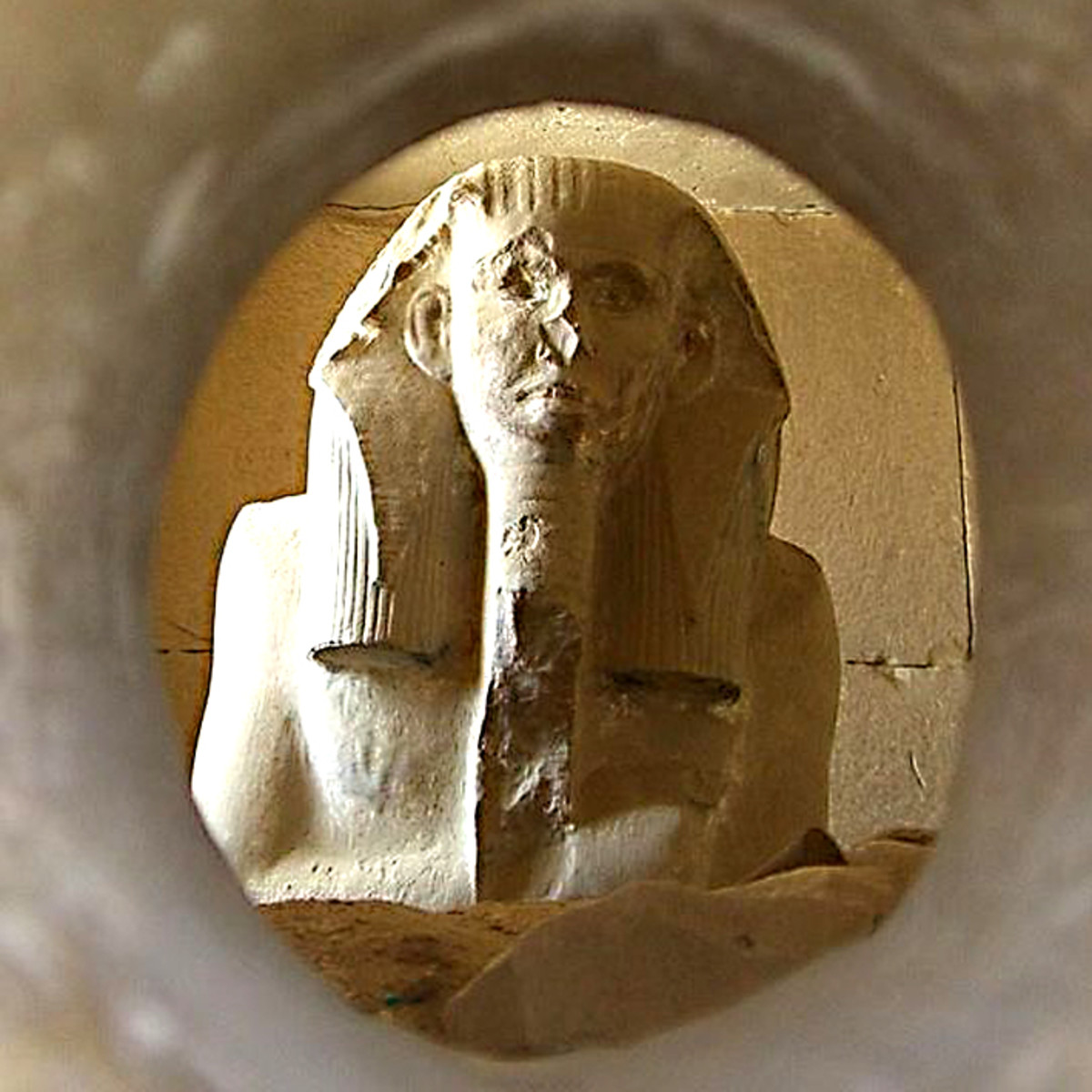 The replica statue of Djoser which now rests in one of the chambers in the burial complex at Saqqara. The original was discovered here during excavations in the 1920s
