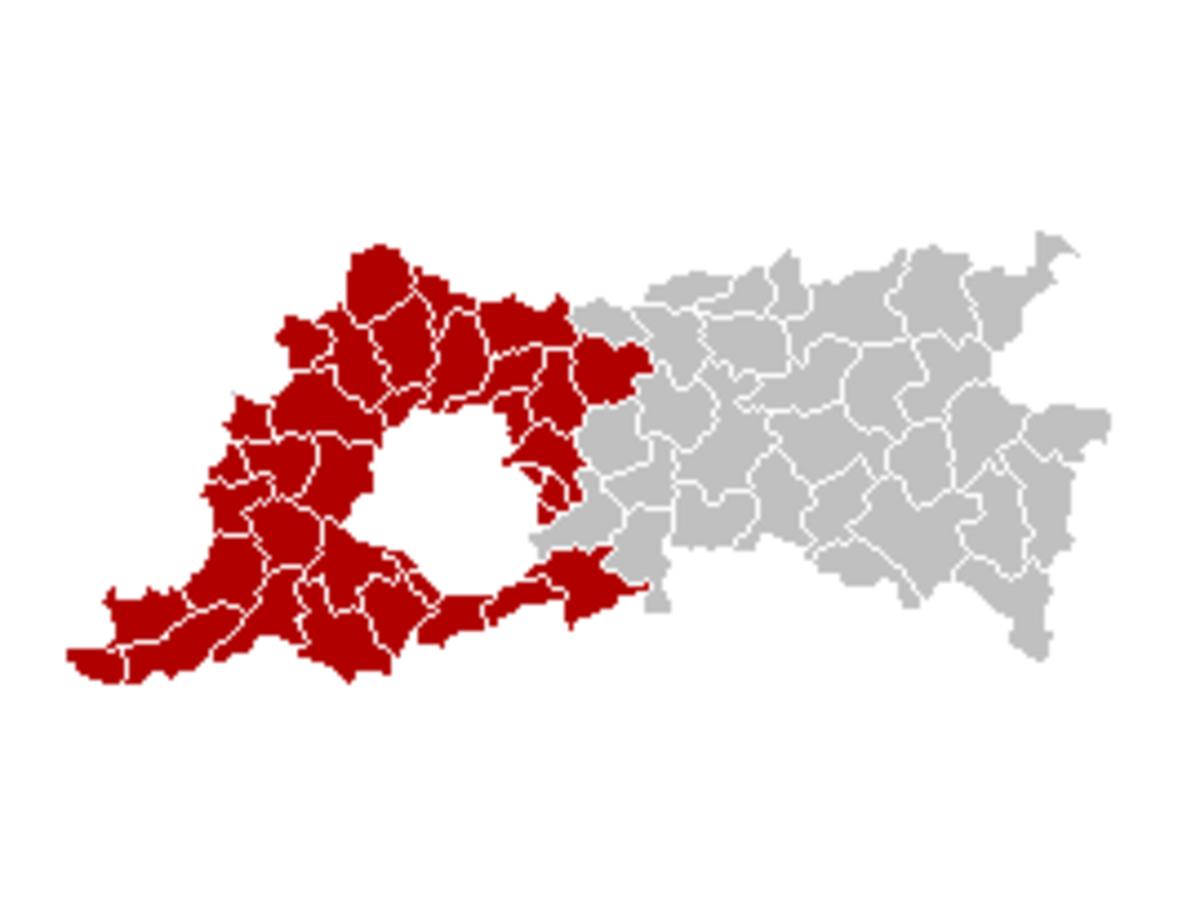 Map location of Halle-Vilvoorde 'arrondissement', Flemish Brabant, Belgium