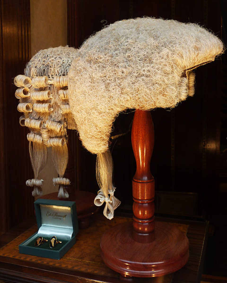 Legal wigs used by barristers in the UK.