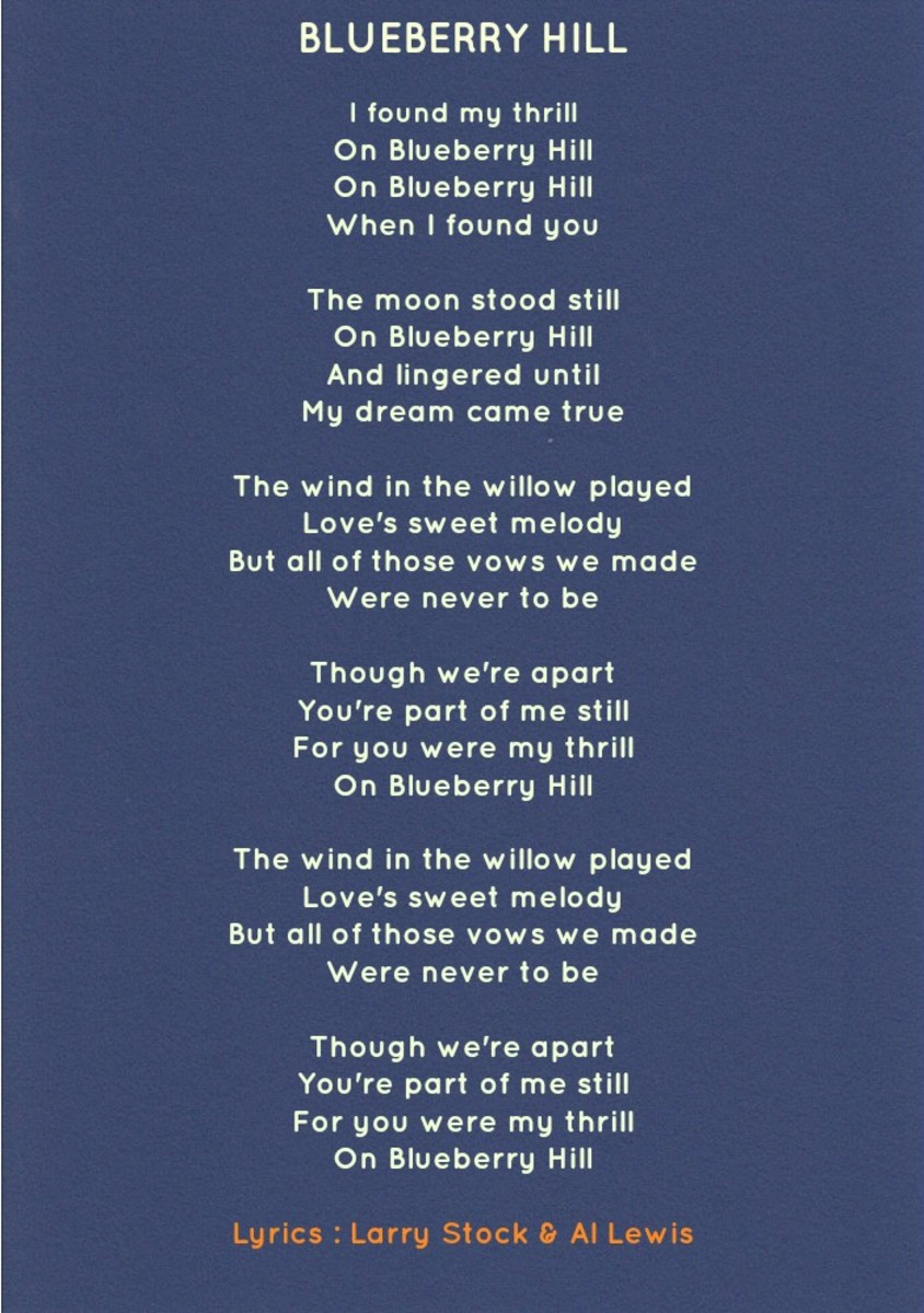 Blueberry Hill Lyrics/Music : Larry Stock, Al Lewis, Vincent Rose