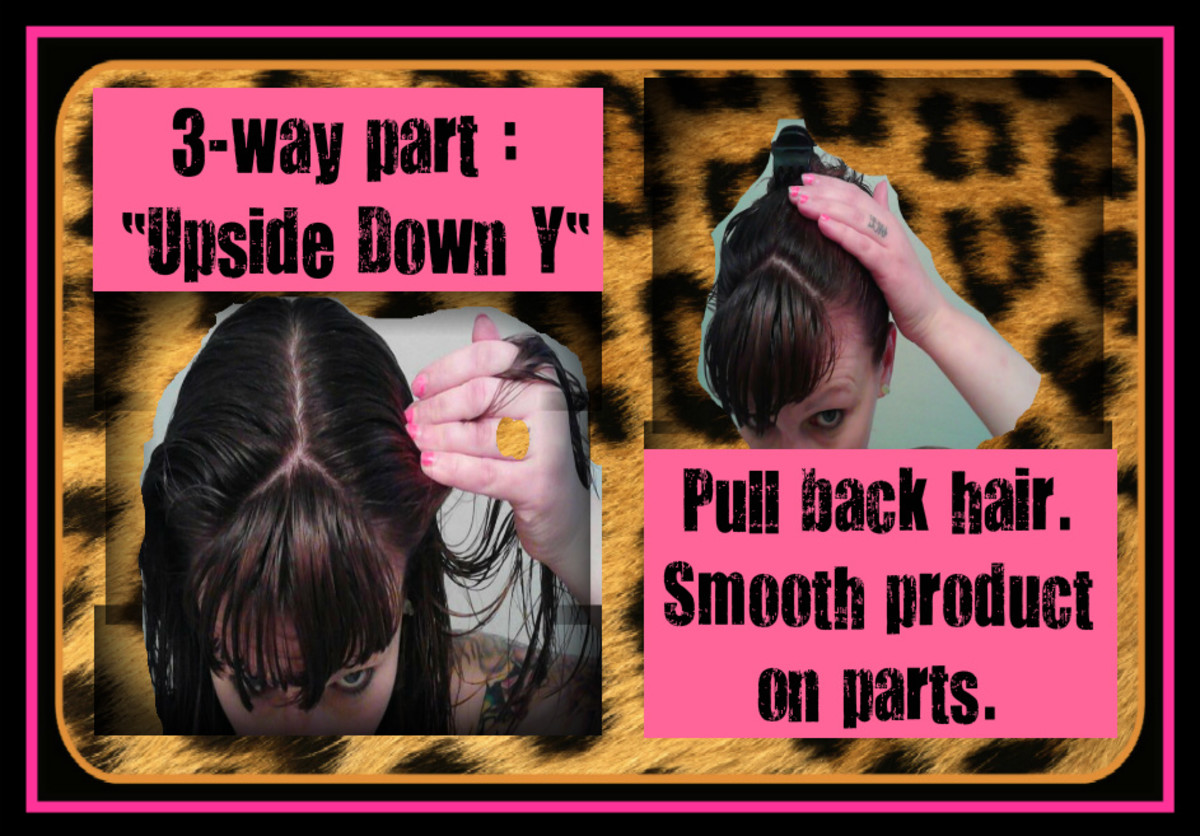 With your hands, smooth a small amount of Bed Head product along the hair where you made your parts. This important step keeps the parts in place without looking greasy later.