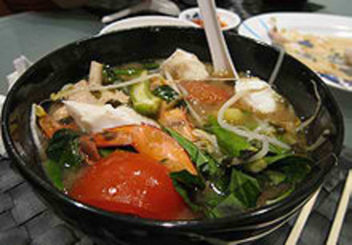 Vietnamese Canh Chua cooked with kangkong.