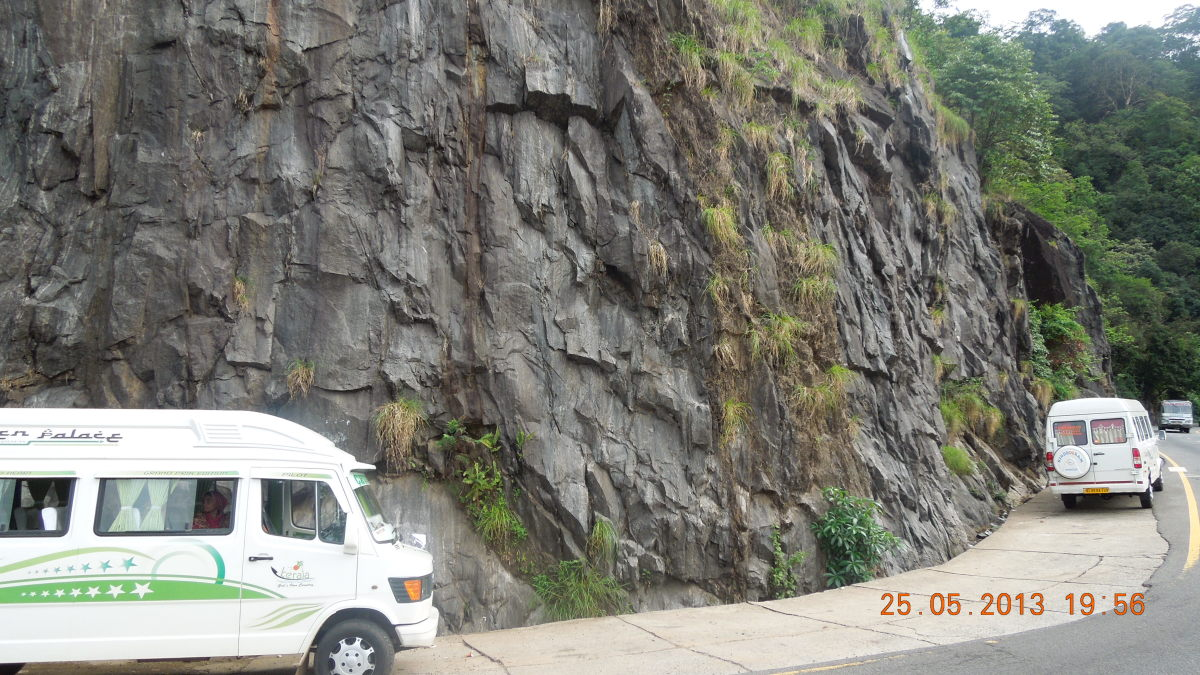 The steep rock on the side