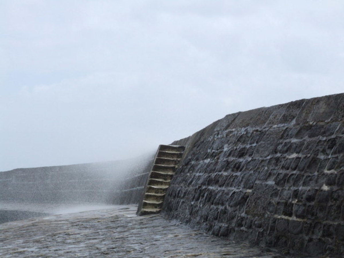 Sea spray over the Cobb, Lyme Regis - Louisa Musgrove fell here