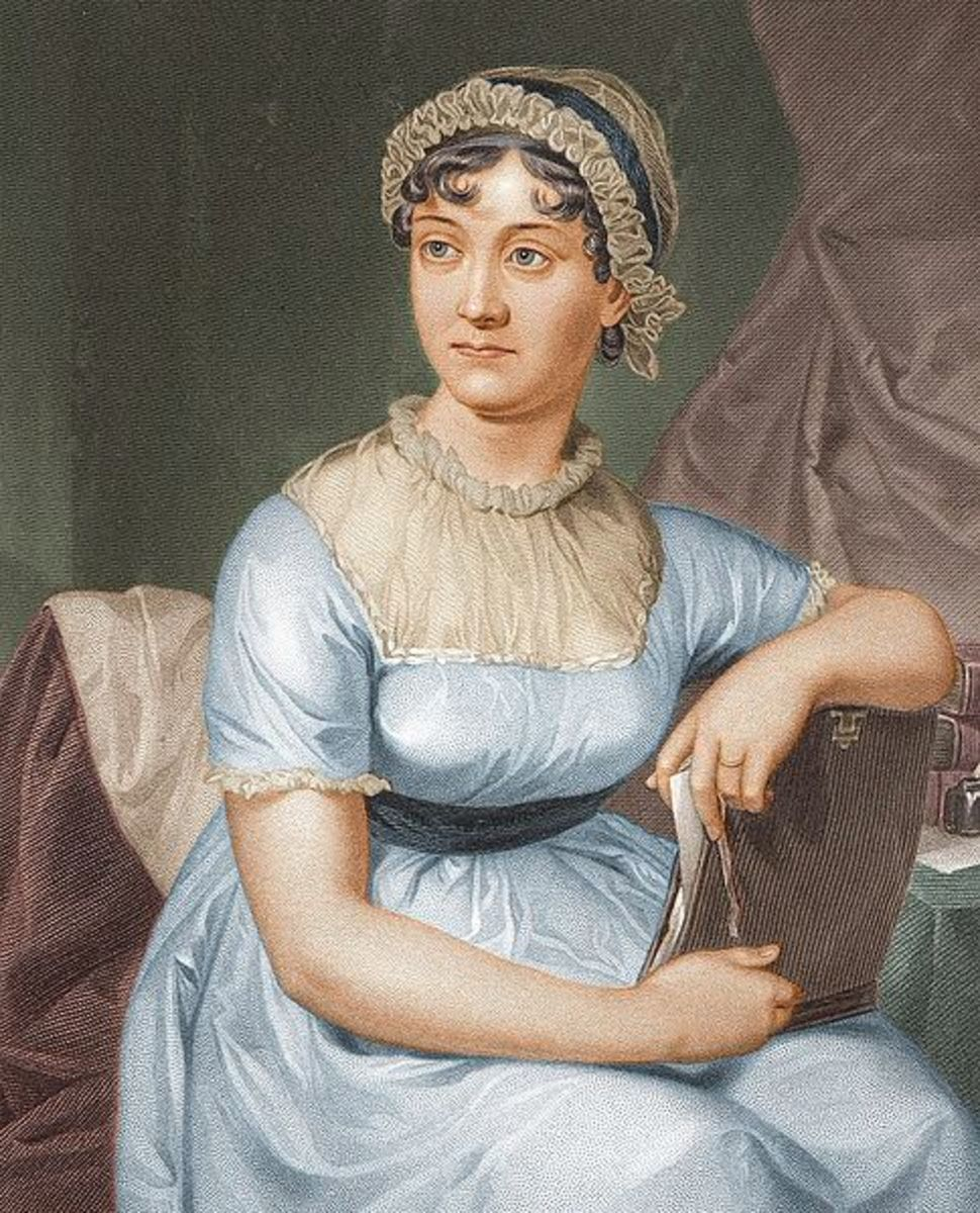 coloured version of 1873 engraving of Jane Austen