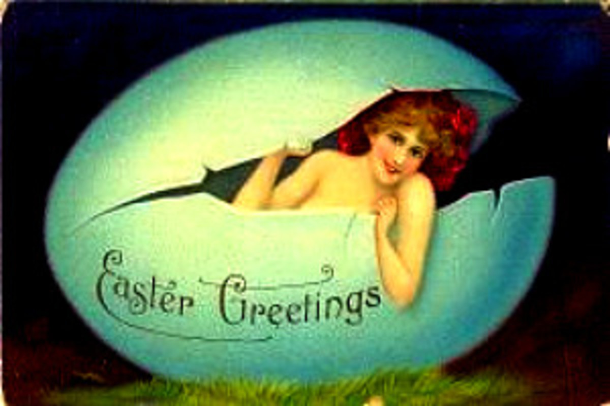 "Vintage Easter card. Eostre seems to say ""I'm baaaack!"""