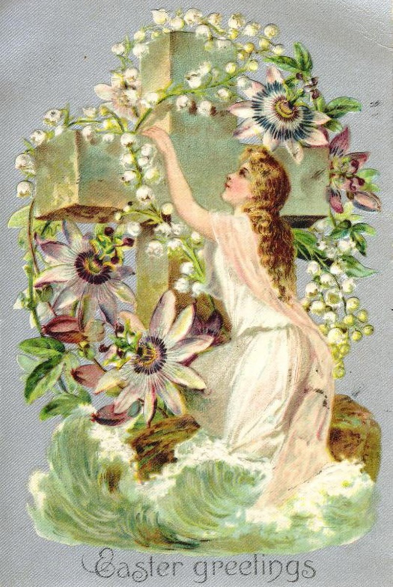 Another vintage Easter card. The merging of the two religious holidays is demonstrated.