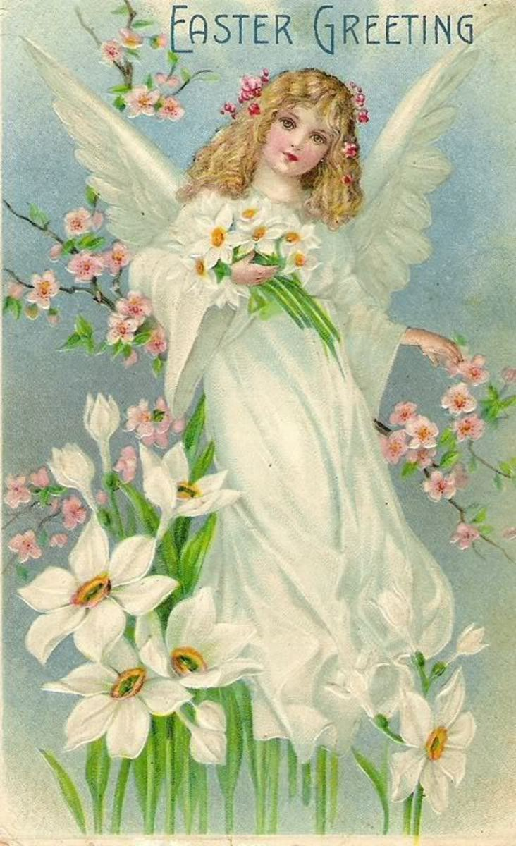 Female Easter angels are a common motif in vintage cards. Could this be a memory of our lost Easter goddess?