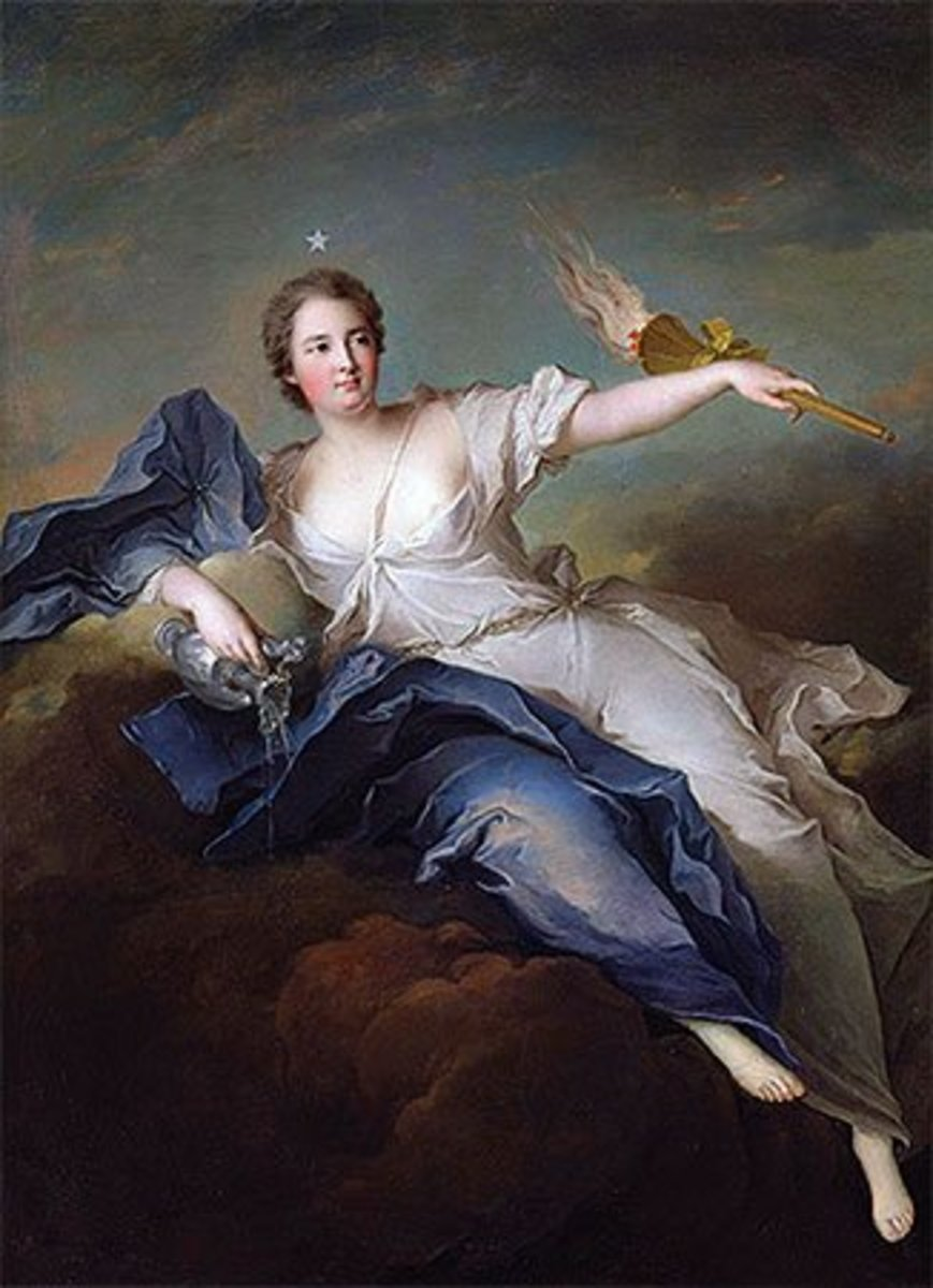 The Greek goddess of the dawn, Eos, is etymologically related to Eostre.  By  Jean-Marc Nattier.