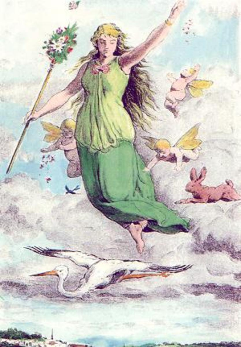 "A colorized version of Johannes Gehrts' piece titled ""Ostara,"" created in 1884."