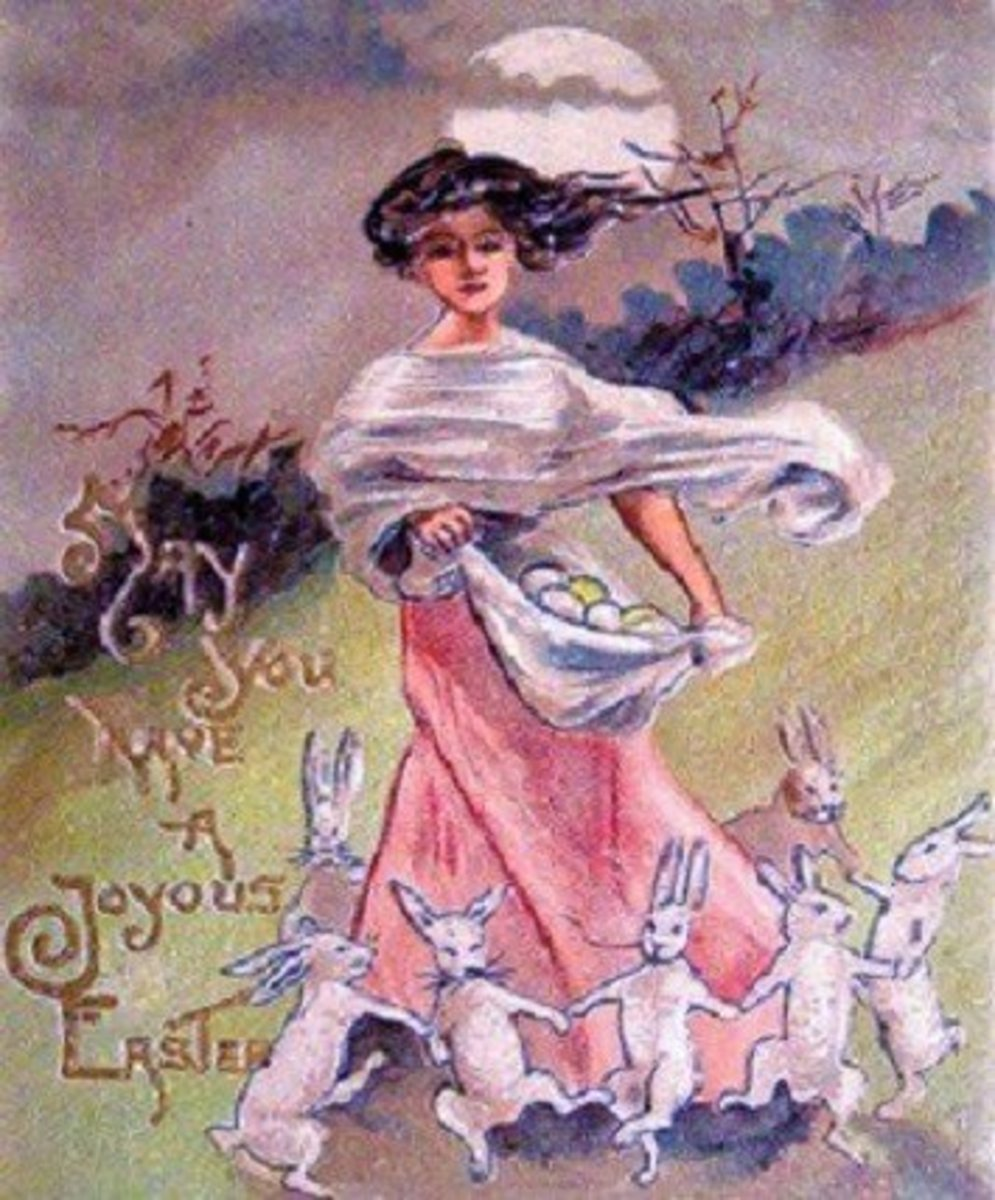 Vintage Easter Card, demonstrating a tradition of associating a young woman with the holiday, a remnant of our cultural memory of Eostre.