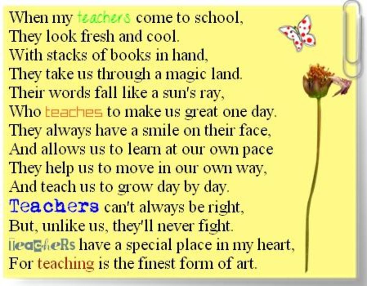 Thank You Notes and Poems for Teachers