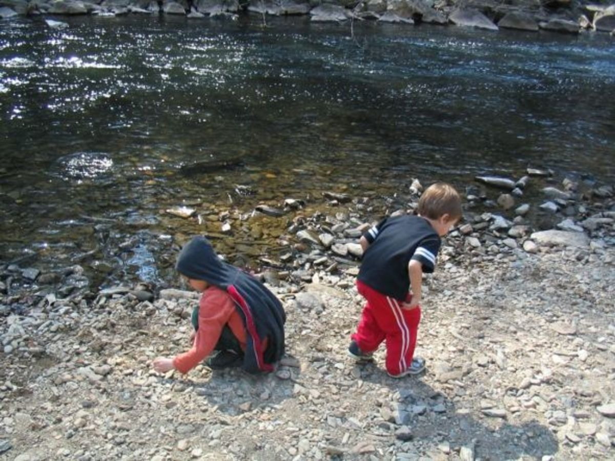 Taking a LONG break to play and explore by the creek.