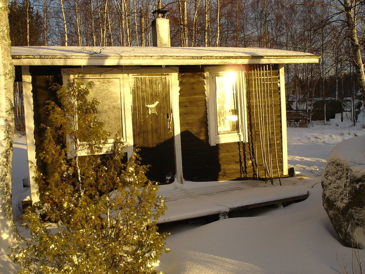 A Finnish wood-heated sauna