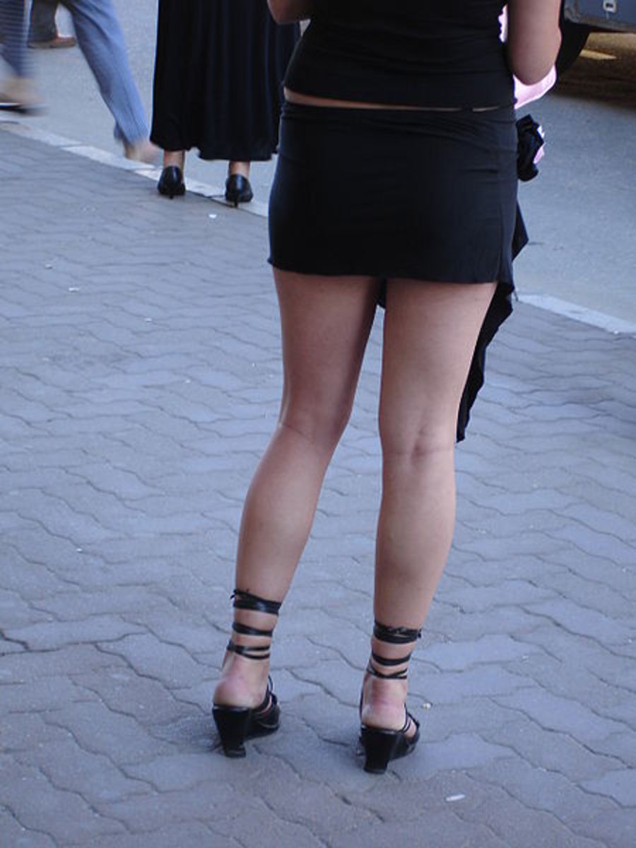 An extremely short black mini.