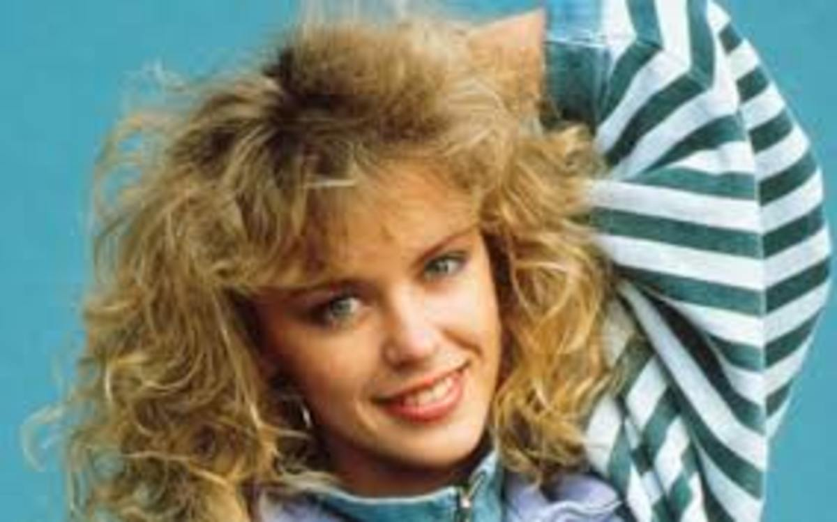 80s fringes were really a bit of a *big* mess -in this case worn by singer, Kylie Minogue
