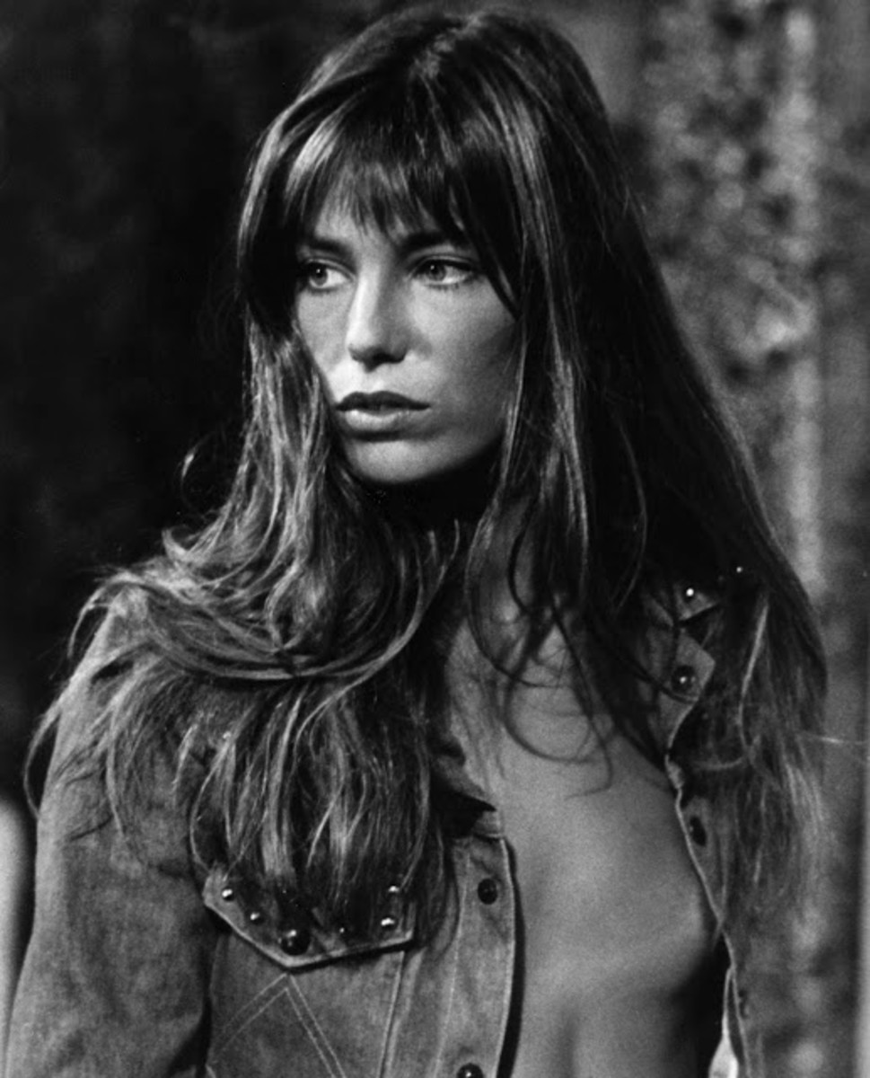60s icon, Jane Birkin wearing a typically wispy fringe of the era.