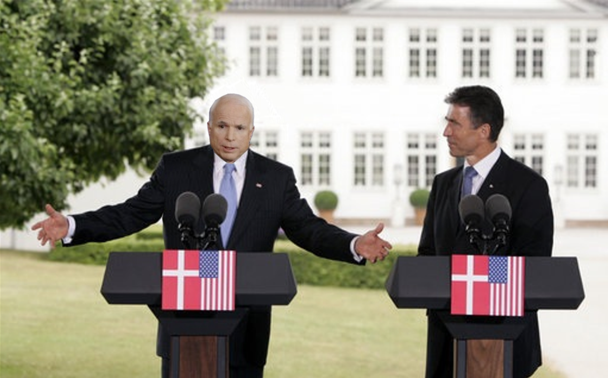Prime Minister Anders Fogh Rasmussen (right) and U.S. President John McCain hold a joint press conference at the prime minister's official residence in Marienborg in Kongens Lyngby, Denmark, July 6, 2005.