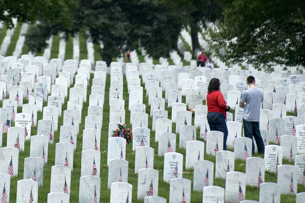 Approximately 400,000 active duty military and veterans from as far back as the civil war are buried at Arlington National Cemetery.