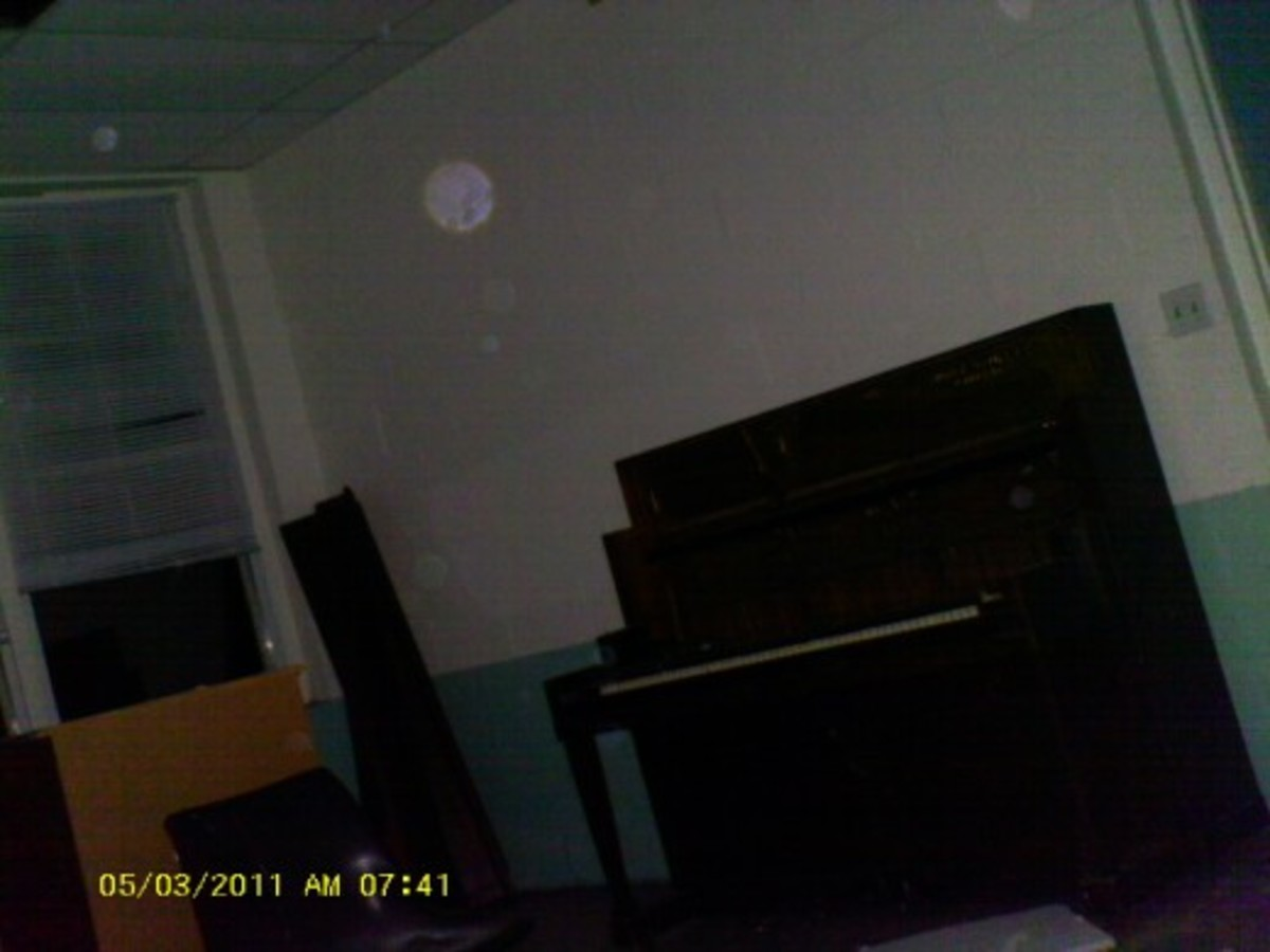 Notice the several orbs in this photo in the old Piano room at the old Unique Living Center that used to be near Fallston North Carolina