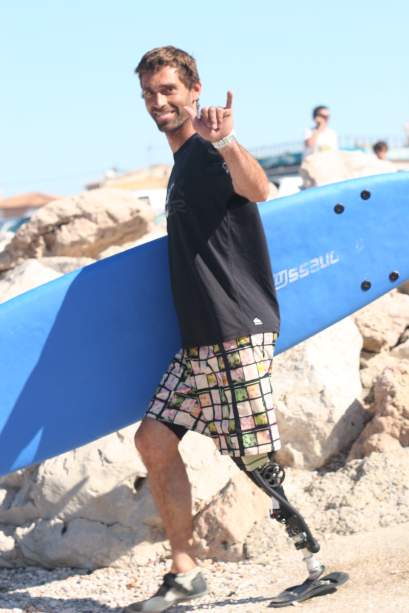Eric Dargent with his new prosthetic leg, especially designed for extreme sports