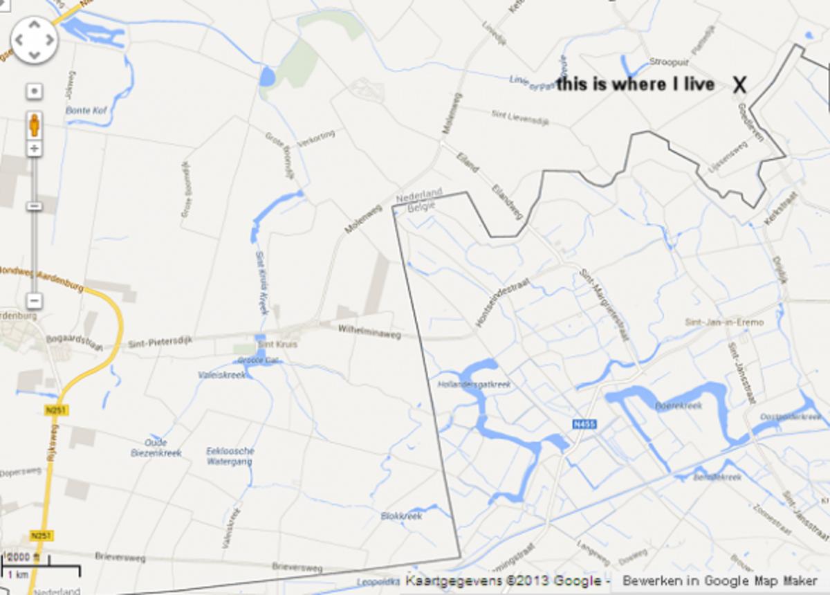 Map of old creeks in Zeeuws-Vlaanderen