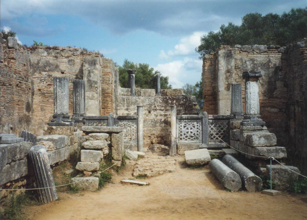 The supposed workshop of Phidias at Olympia, where it is said he fashioned the cryselephantine statue of Zeus, one of the Seven Wonders of the World.