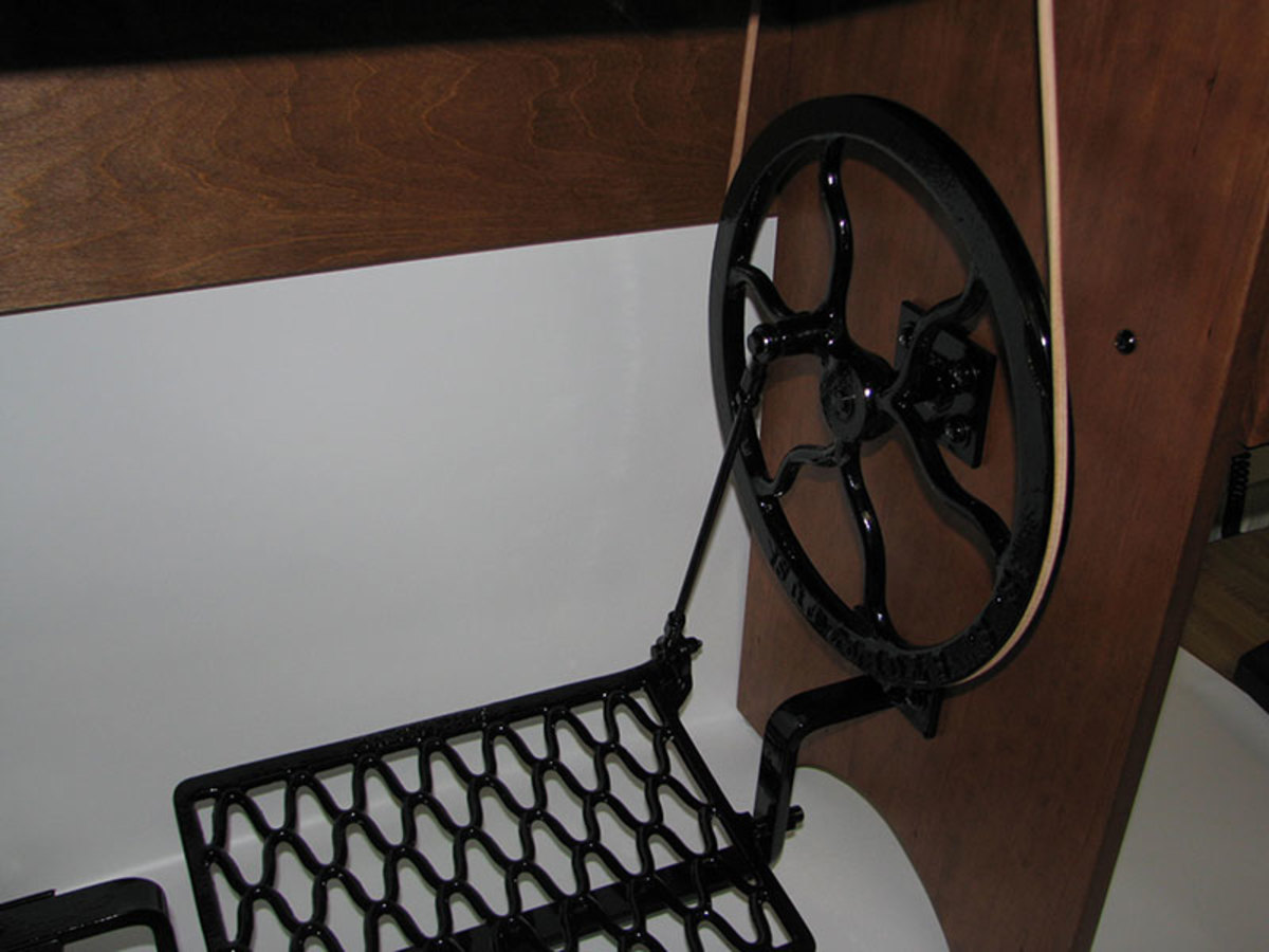 Reproduction treadle and flywheels are patterned from the old singer treadles.