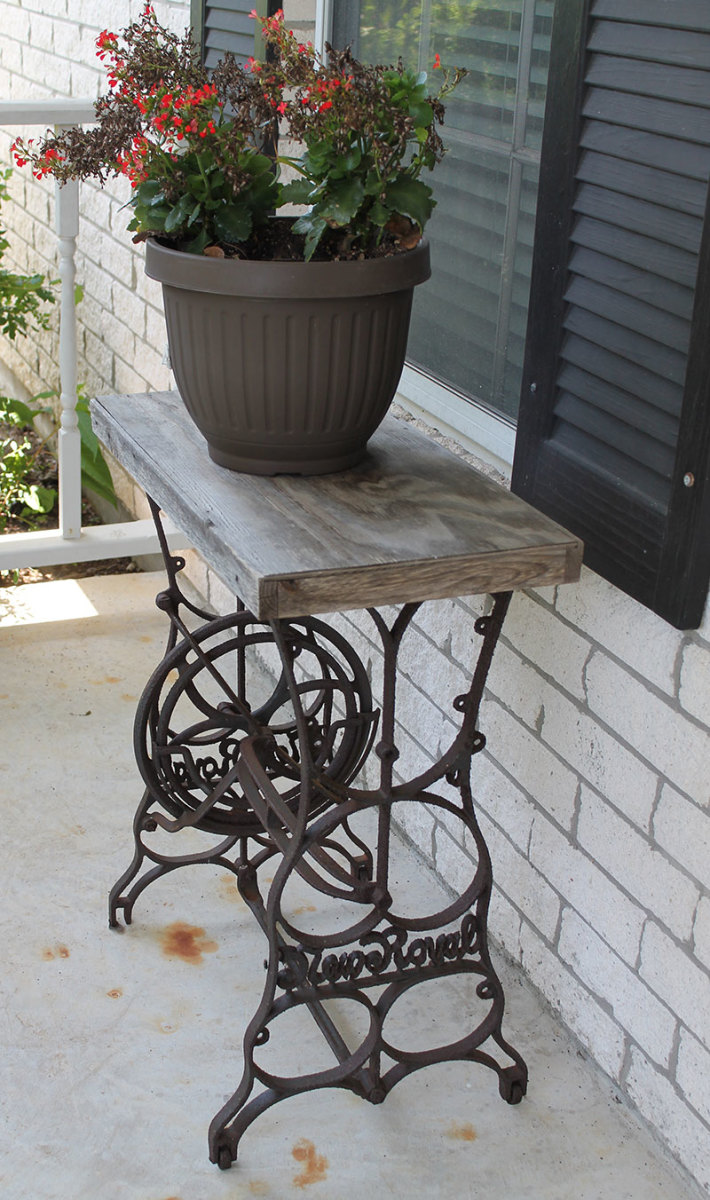 Cast iron treadle bases were repurposed into other tables.
