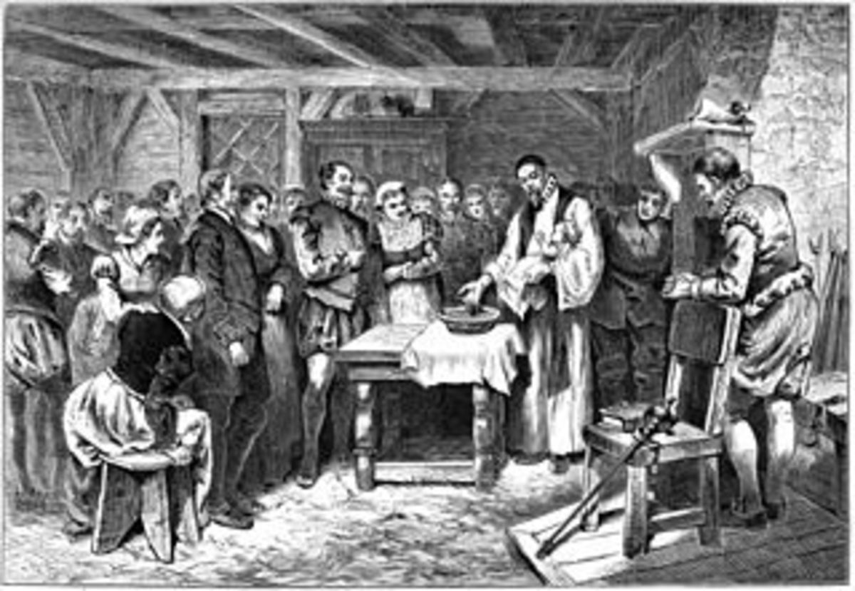 An 1880 lithograph of the Virginia Dare Baptism, First child born in North America