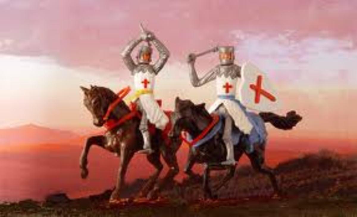 The crusaders nights on horseback.