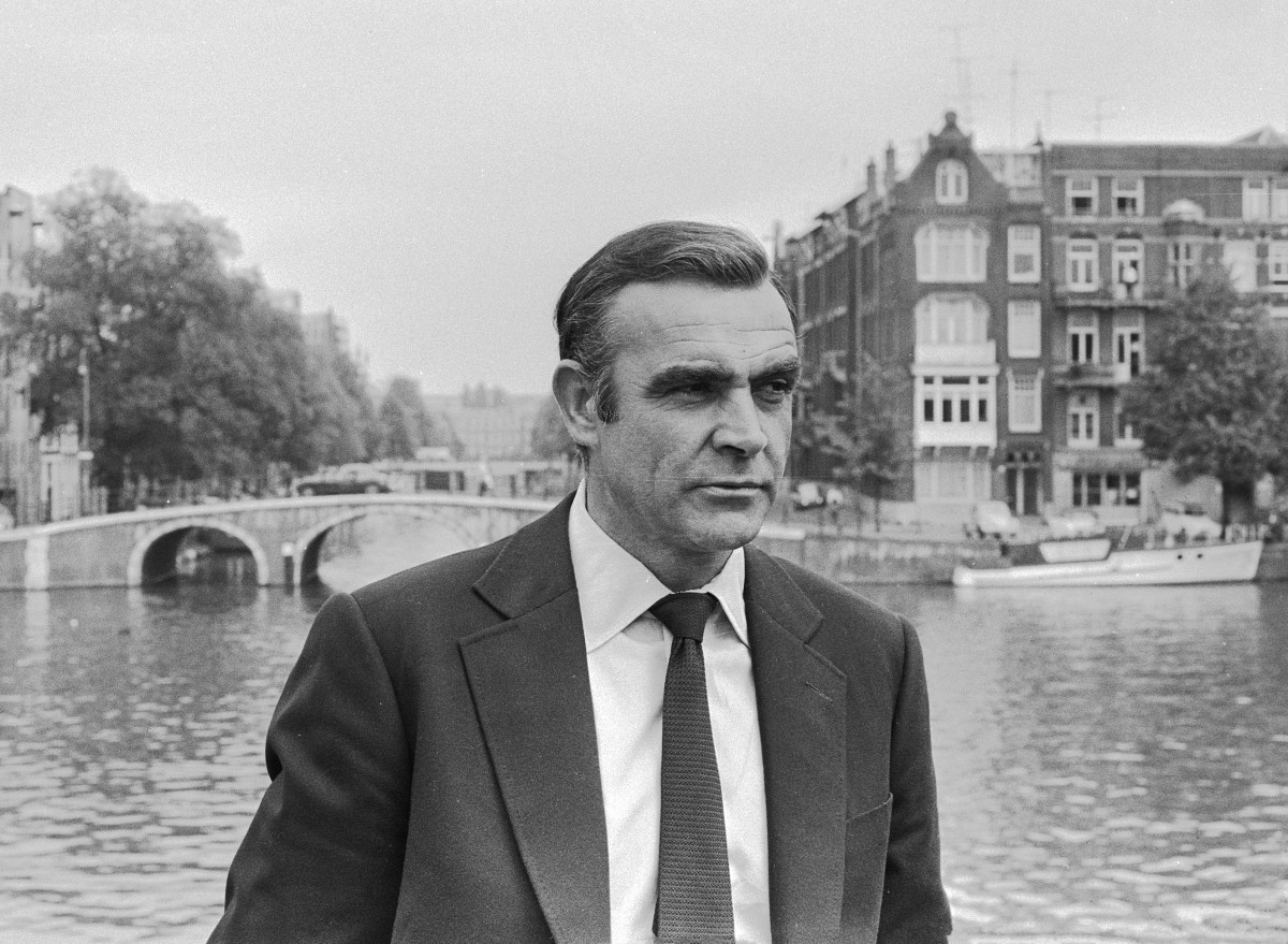 "Sean Connery shooting the James Bond movie ""Diamonds are Forever"" in Amsterdam, the Netherlands"
