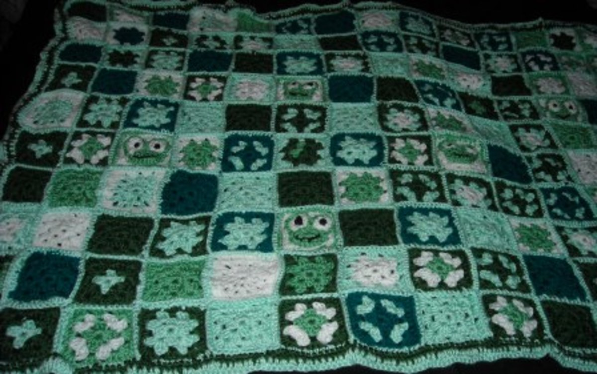 Popular granny square patterns adorn, fashion clothing, beds, and cribs.