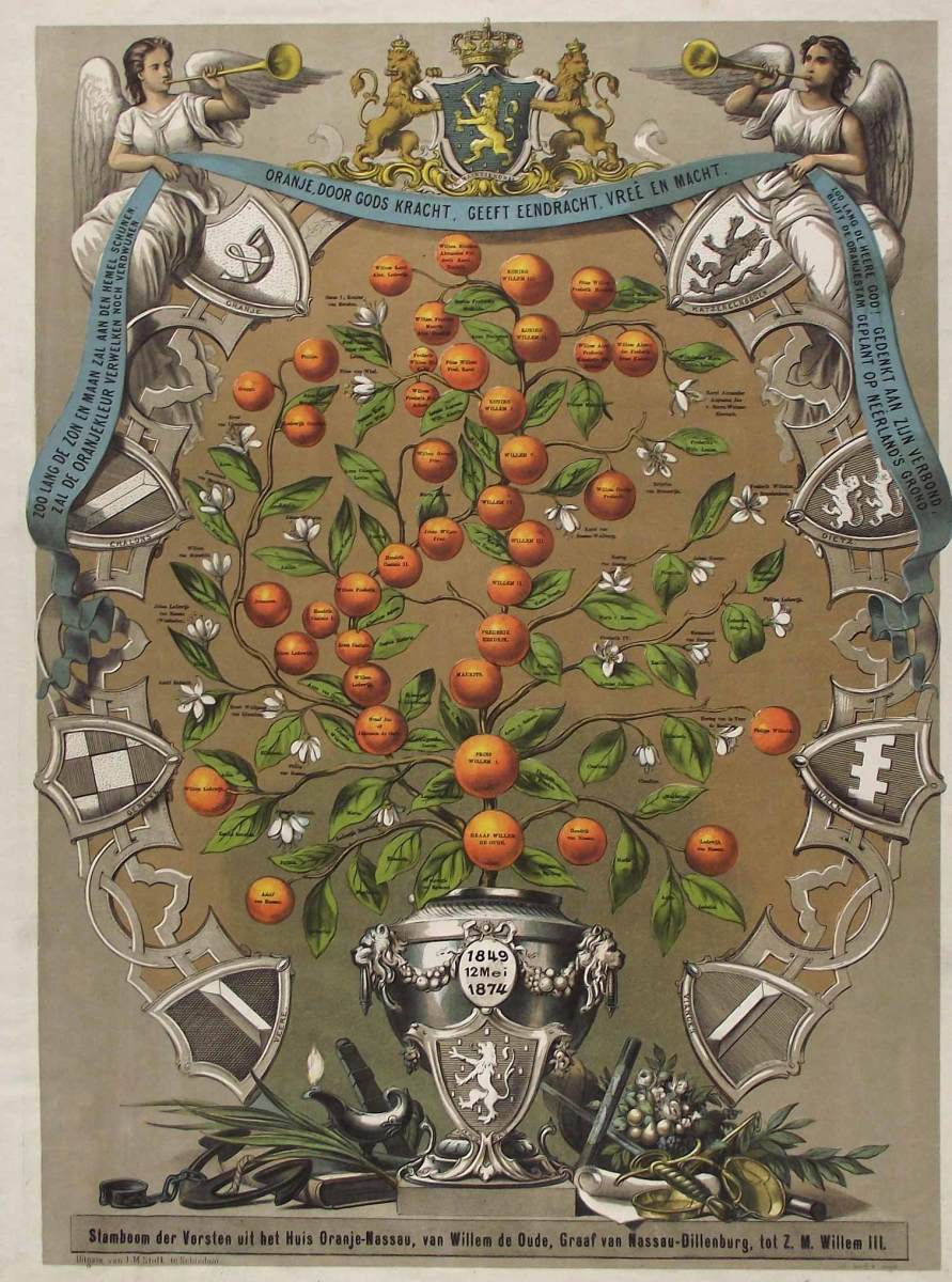 A beautifully decorated family tree of the Orange Dynasty. For a larger version that can be read more easily, see the original file on Wiki Commons: http://commons.wikimedia.org/wiki/File%3AStamboom_der_Versten_iut_het_Hius_Oranje-Nassau.jpg