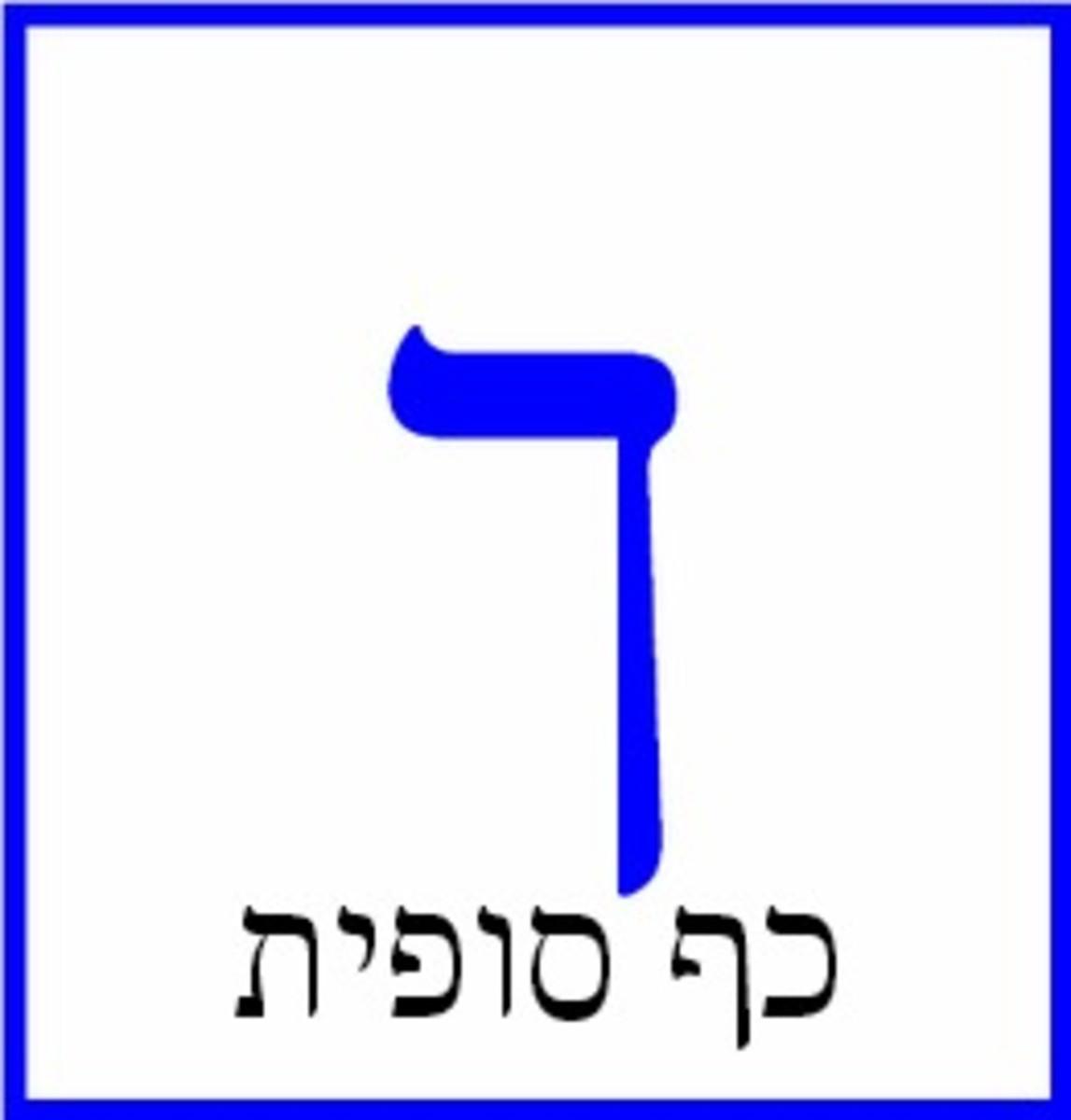 The Hebrew Letter Kaf or Khaf Sofit – כף סופית