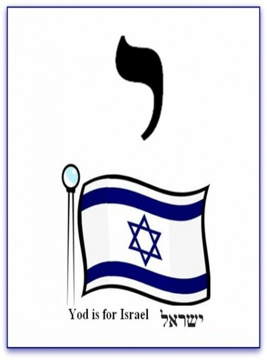 Hebrew Alphabet Letter Yod and Israel Flag – האלפבית אוֹת יוד