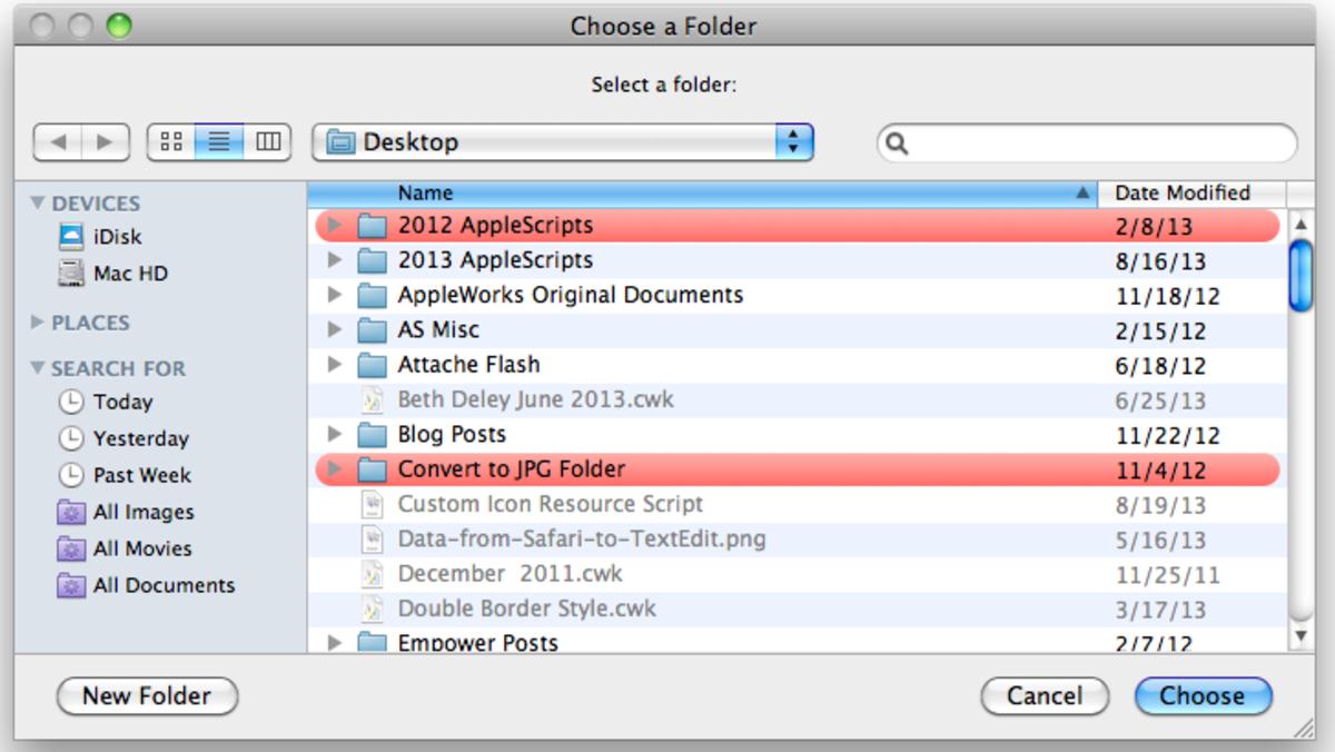 Choose folder window