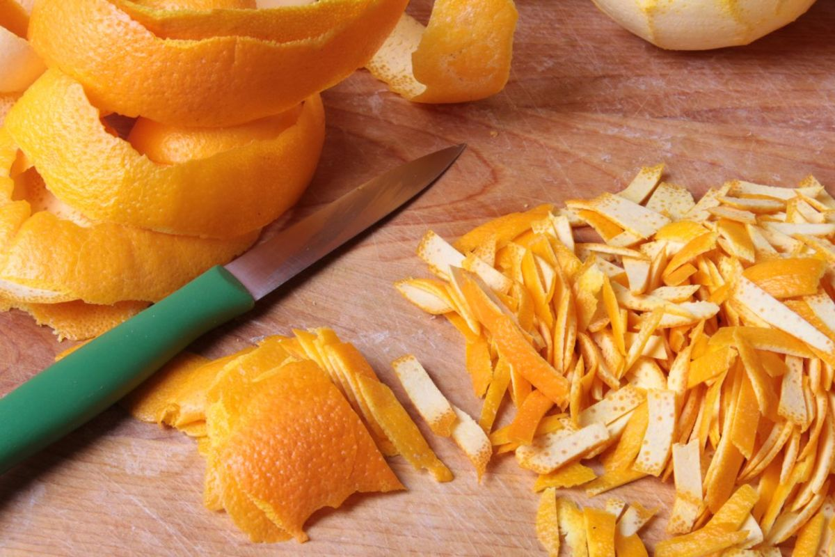 chop up the orange peel roughly