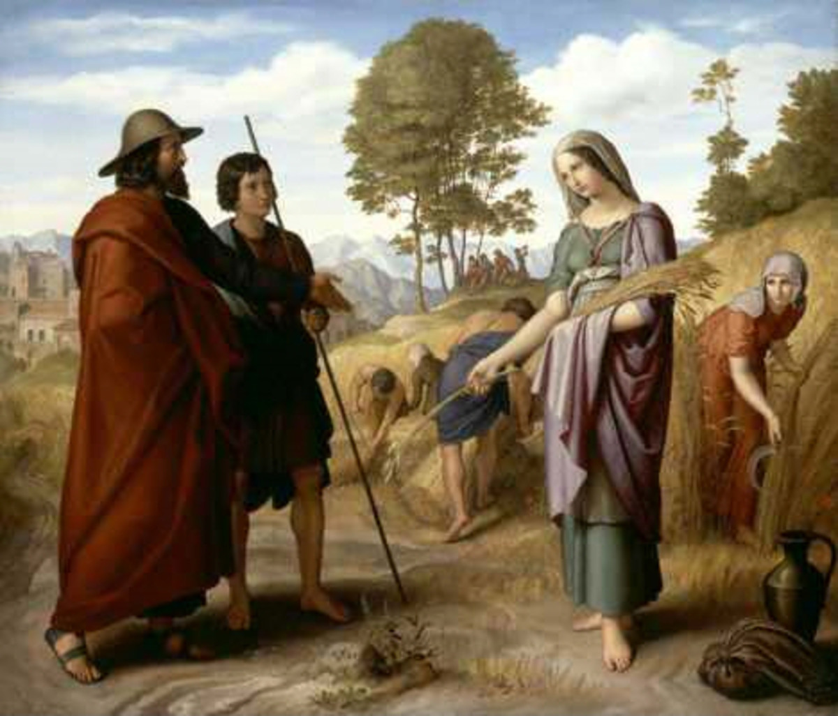 Ruth meets Boaz in his barely field.