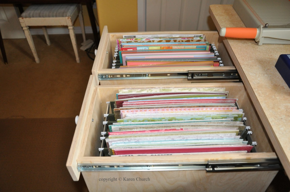 If you have large enough drawers, the standard sizes of paper can be stored in a file drawer system.