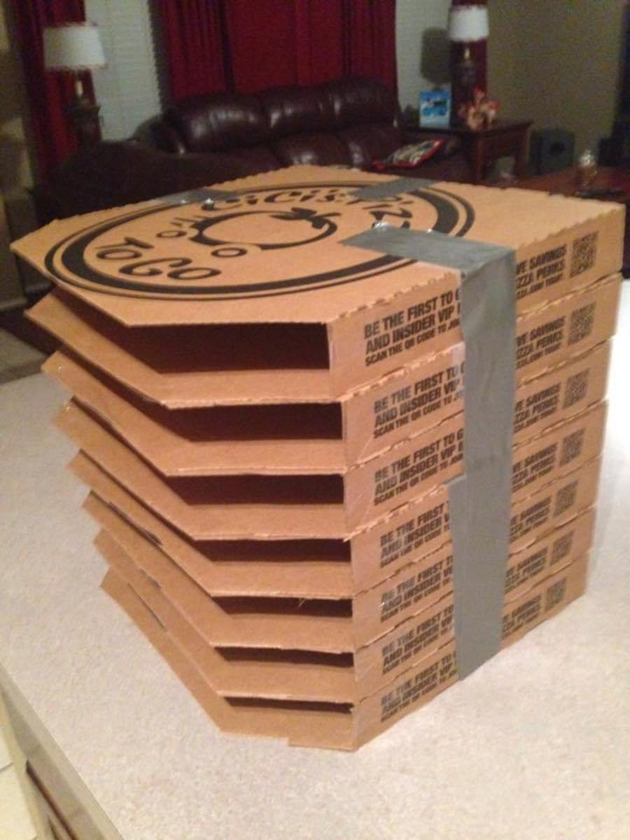 Stacked pizza boxes are a great recycling project fir storing card stock. You could cover the tops and sides with patterned paper. The great thing about this project is you can customize the height to fit your needs.