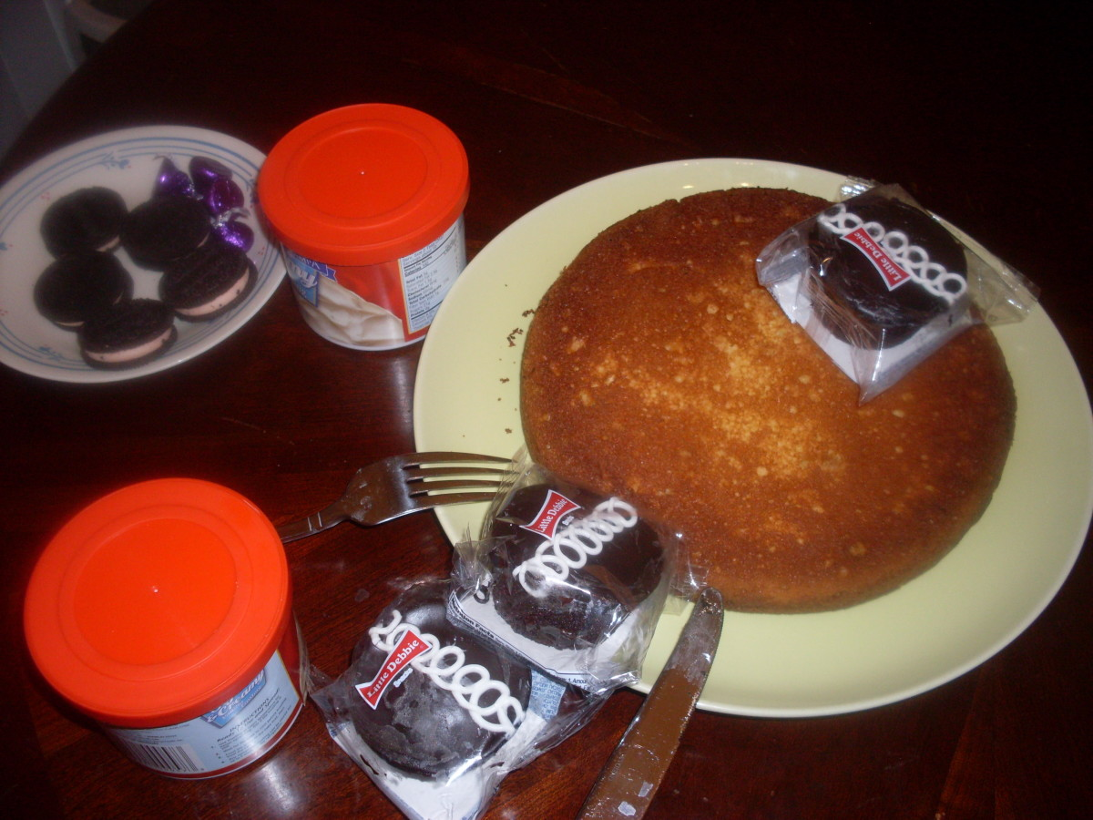 Preparing the panda bear birthday cake.