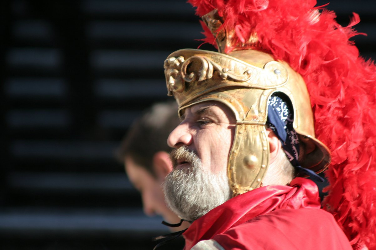 Roman helmet re-enactment.  (We'll pretend we don't see the actor's bandana. . . )