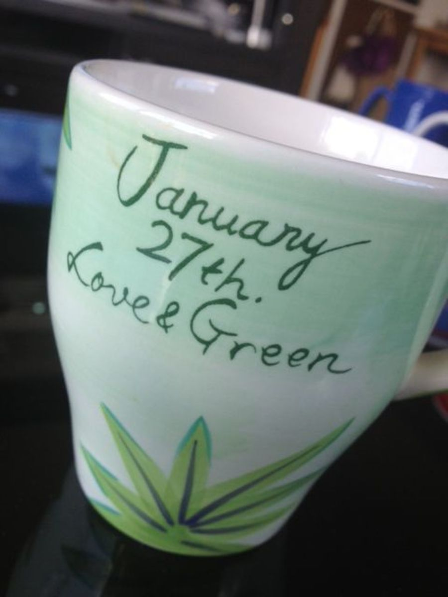 Nice green mug for my birthday from a friend.
