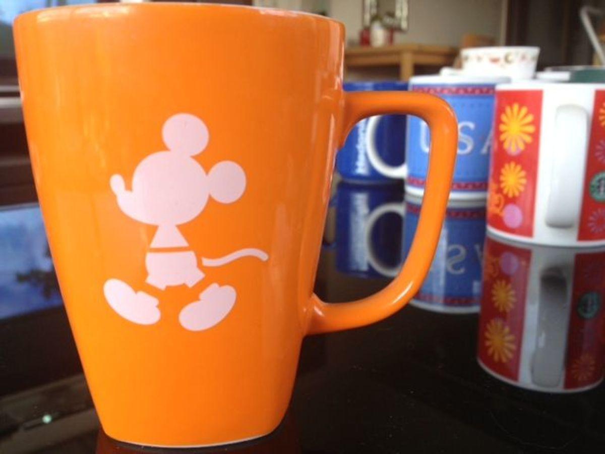 A simple orange mug from Tokyo Disney Sea.
