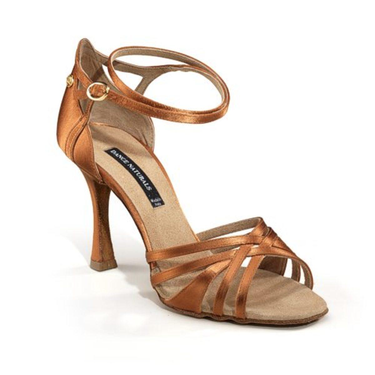 Typical satin beige women's Latin dance shoe
