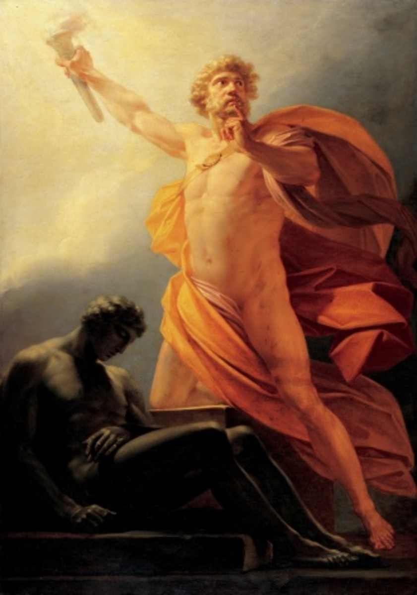 Prometheus Brings Fire to Mankind by Heinrich Rueger, c1817