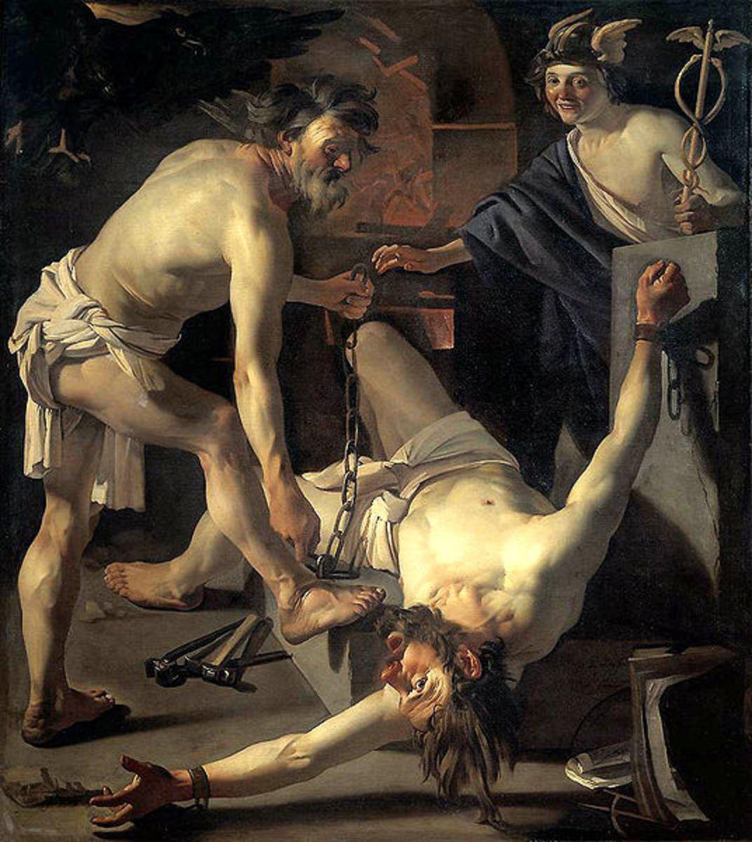 Prometheus Being Chained by Vulcan, Dirck van Babur, 1623